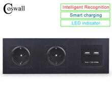 COSWALLผนังPCแผงซ็อกเก็ตคู่ 16A EUเต้าเสียบDual USBพอร์ตชาร์จ 5V 2Aเอาต์พุตKnightสีดำ