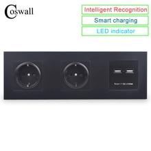 COSWALL Parete Panel PC Doppia Presa 16A UE Presa Elettrica Dual USB di Smart Porta di Ricarica 5V 2A Uscita Cavaliere colore nero