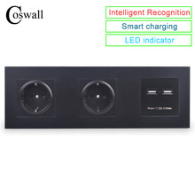 COSWALL Panel de pared doble toma 16A UE toma de corriente doble USB puerto de carga inteligente 5V 2A salida Caballero Color negro()