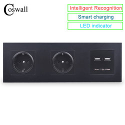 COSWALL Wall PC Panel Double Socket 16A EU Electrical Outlet Dual USB Smart Charging Port 5V 2A Output Knight Black Color