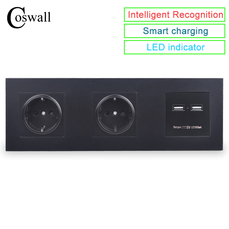COSWALL Wand PC Panel Doppel Buchse 16A EU Steckdose Dual USB Intelligente Lade Port 5V 2A Ausgang Ritter schwarz Farbe