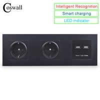 COSWALL mur PC panneau Double prise 16A EU prise électrique Double USB intelligent Port de charge 5V 2A sortie chevalier couleur noire