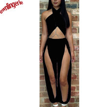 free shipping online jumpsuit cut off scattered pieces bosyduit neck halter bandage jumpsuit for club night
