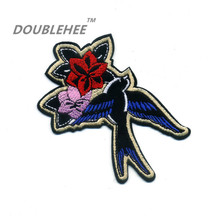 DOUBLEHEE 10cm*10.5cm Embroidered Iron On Patches Flower Birds Design Embroidery DIY Shoes Bags Accessories