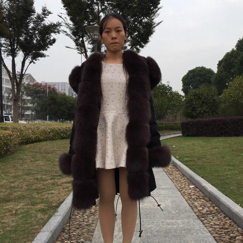 Fandy Lokar Настоящее Шуба Отдельностоящий Lining Природный Рекс Кролика куртка Натурального Меха Фокс Черный зимняя Куртка пальто Длинный Мех Пальто женщины