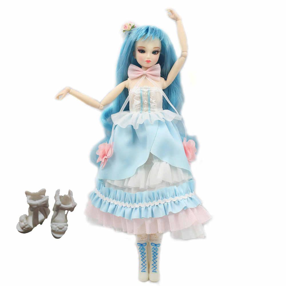 Мм девочка 30 см кукла с гибкими суставами имя Катрина синие волосы 1/6 BJD кукла