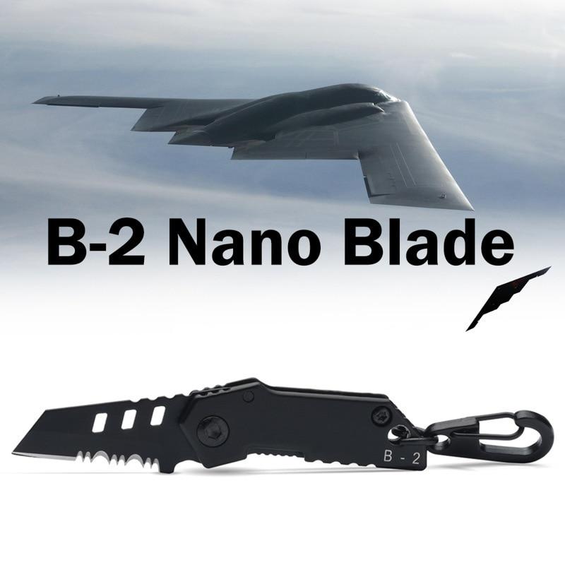 B-2 2017 bombardero Nano cuchilla utilidad Multi bolsillo Mini llavero táctico EDC supervivencia Camping exterior cuchillo herramientas reparación