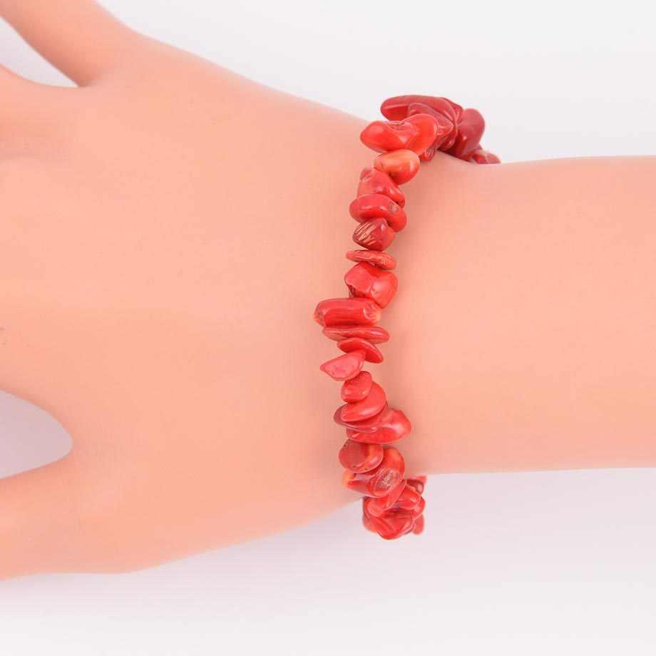 טבעי פנינה אבן שבב חרוזים צ 'אקרה אדום קורל צמידי לנשים קטן גודל רייקי ריפוי מדיטציה הילה מתנה B134