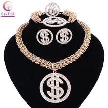 Ожерелье и кулон в виде денег долларах США золотистого серебряного