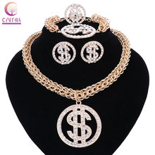 US Dollar Money Necklace&Pendant Gold Silver Color Chain For Women/Men Rhinestone Hip Hop Bling Bracelet Earring Ring Jewelry(China)