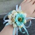 Свадебный Наручные Цветы С Жемчугом, Невесты Шелковый Роуз корсажи Ручной Цветок Искусственные Цветы Для Свадьбы Украшения A037