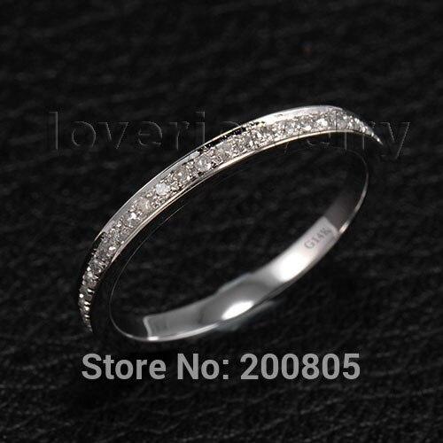14 к белого золота 0.28Ct Diamond обручение Свадьба весь соответствующие кольцо Простой дизайн для день рождения дочери ювелирные украшения подар