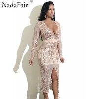 Nadafair Long Sleeve V Neck Sequined Dress Split Sexy Club Midi Party Dress