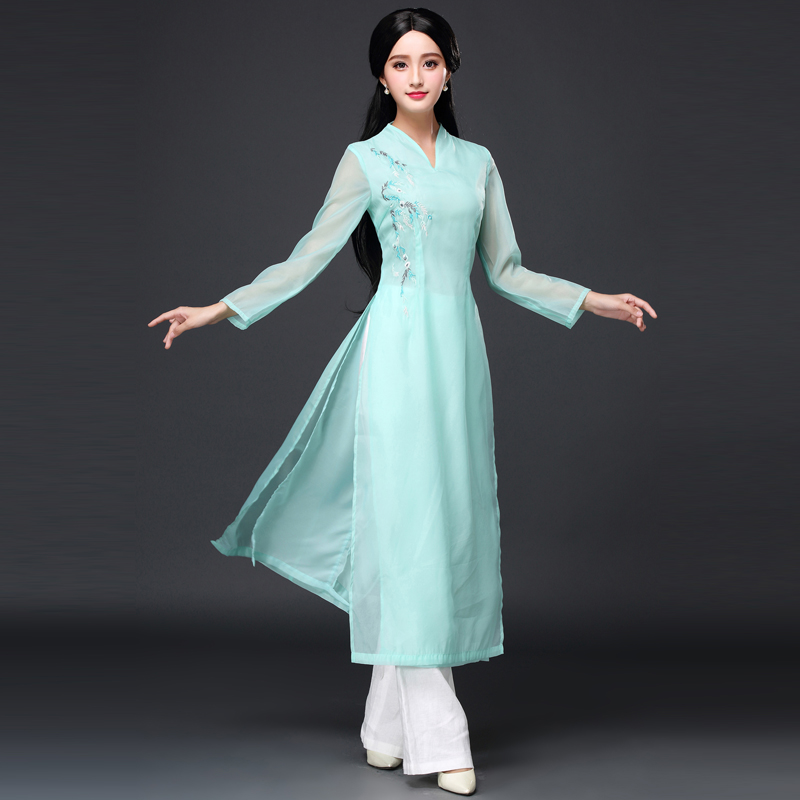 New Arrival 2017 Vietnam Ao Dai Chinese Traditional Dress Qipao Long Chinese Cheongsam Dress