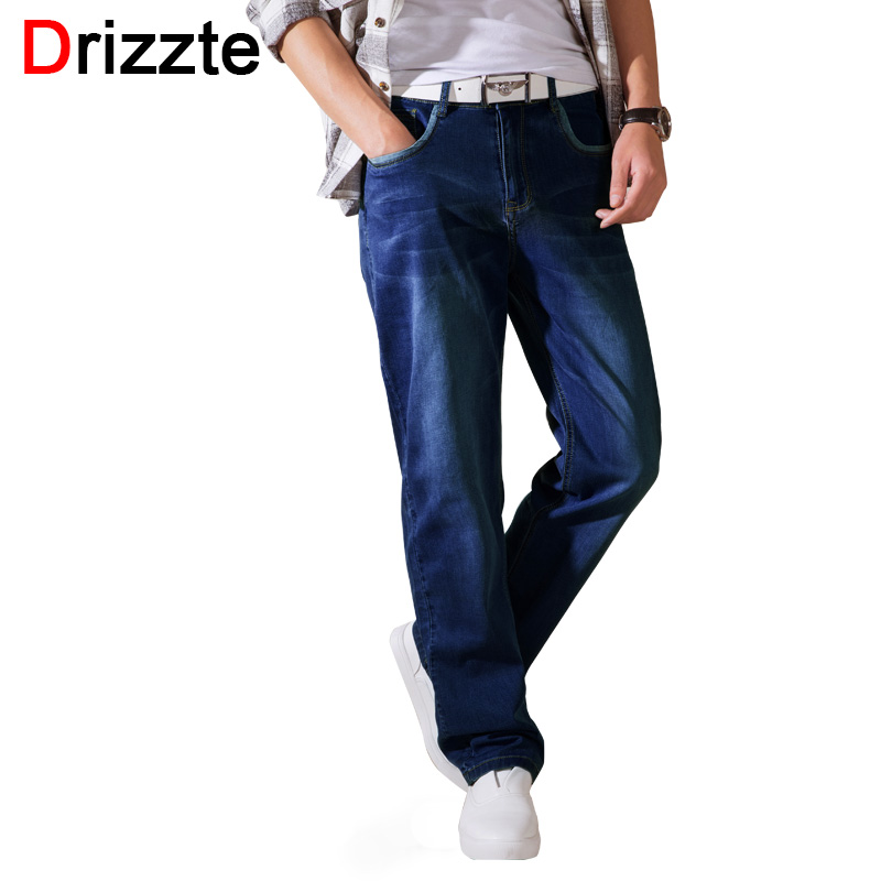 Drizzte Loose Fit Summer Thin Jeans Mens Stretch Denim Jean Relax Fit Trousers Pants Jean Plus Size 36 38 40 42 44 3 Color