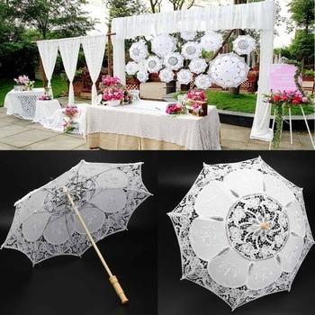 Moda güneş şemsiyesi pamuk nakış şemsiye beyaz fildişi dantel plaj şemsiyesi düğün parti dekor için çekim sahne