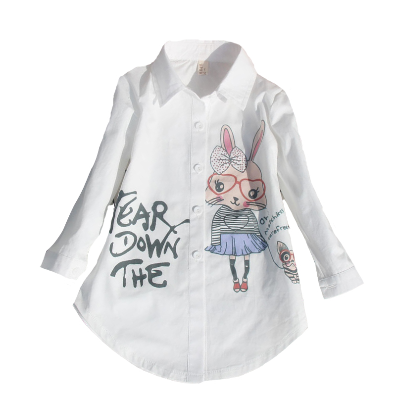 Toddlers White Blouses For Girls School Uniforms Cartoon Students Party Shirts Cotton Long Sleeve Teenage Kids Tops 2 4 8 12 15Y