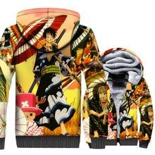 Anime Jackets Men One Piece 3D Hoodies The Straw Hat Pirates Luffy Sweatshirts Winter Thick Fleece Harajuku Pirate King Coat