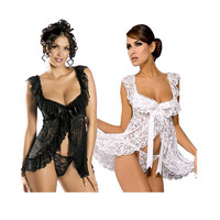 2016 Hot Plus Size Perspective Sexy Lingerie Set Women Lace Floral Sexy Costumes Blackless A File
