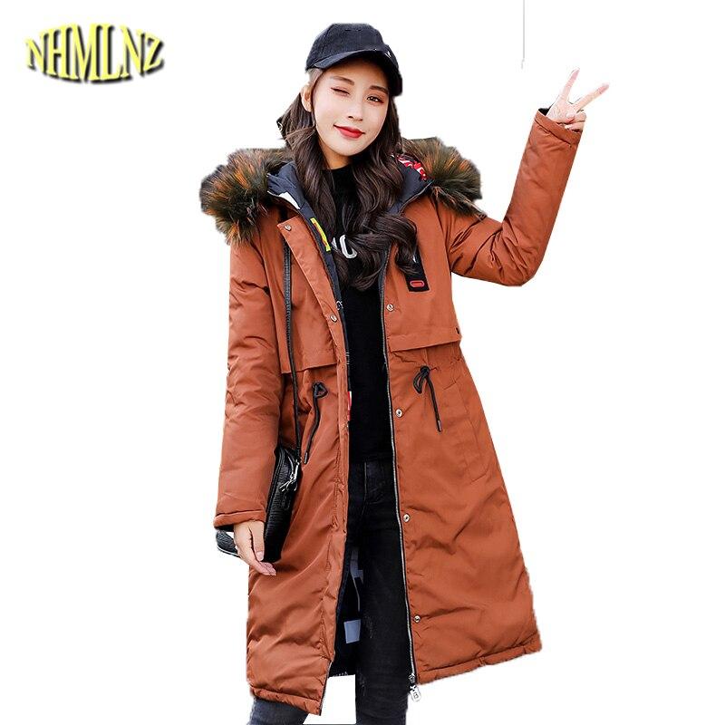 Double-sided wear Long   Parkas   Women 2019 Winter Solid Slim Cotton Jacket Hooded Warm Thick Cotton Coats Female Outwear DAN297