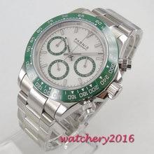 цена New Arrive 39mm PARNIS White Dial Green Bezel Chronograph Sapphire Glass Quartz Movement men's Watch онлайн в 2017 году