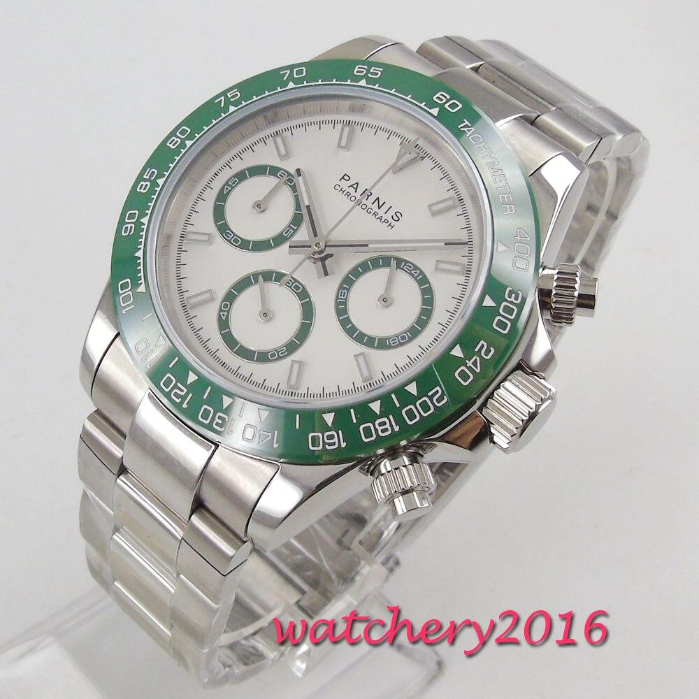 Nouvelle arrivée 39mm PARNIS cadran blanc vert lunette chronographe verre saphir Quartz mouvement montre pour hommes