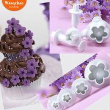 4pcs/Bag Plum Flower Cake Mold Cupcake Decoration Happy Birthday Mould Tools Supplies Wedding Decorating