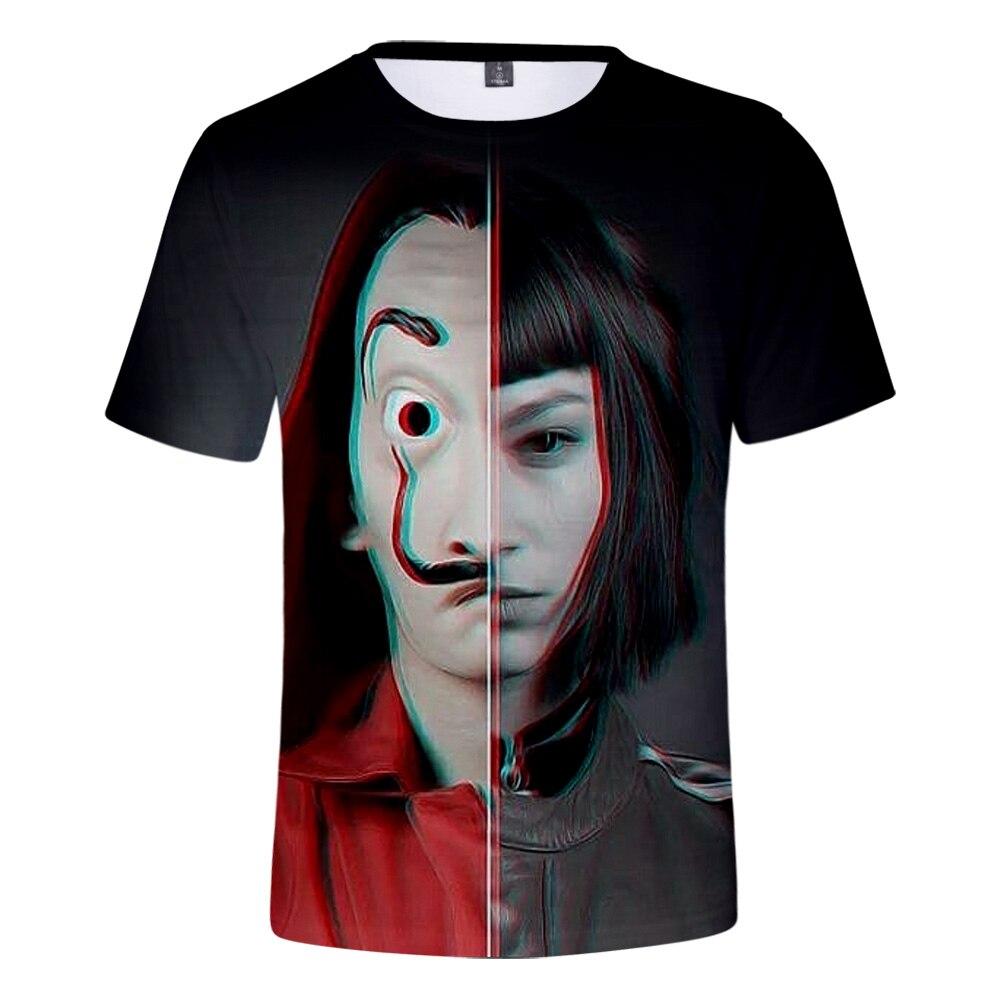 Série de TV la casa de papel Casa de Papel Dinheiro Assalto 3D t-shirt Dos Homens/Mulheres de verão Hip hop Casuais t camisa de Manga Curta Roupas