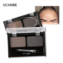 Ucanbe Professional Eye Brow Makeup 2 Color Eye Shadow Eyebrow Powder With Brush Eyebrow Cake Dark Brown Make Up Palette Set Kit