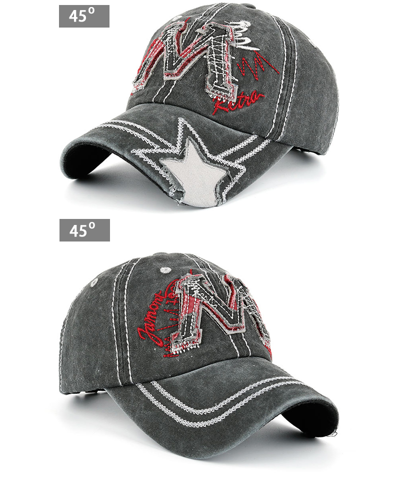"Embroidered ""M"" Baseball Cap - Gray Cap Angle Views"