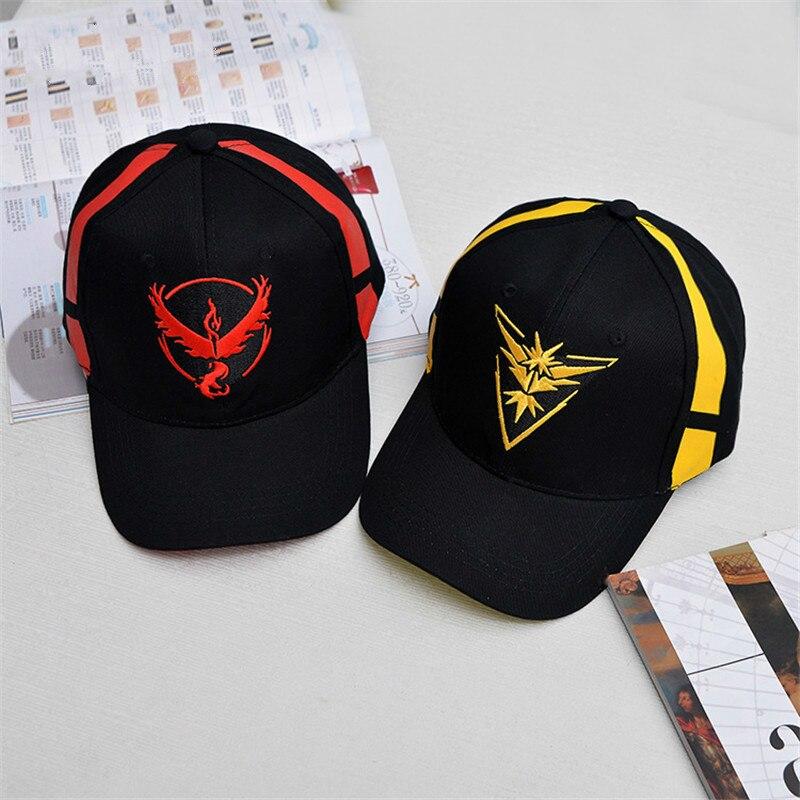 Gorra de Pokemon Go Team Instinct para hombre y mujer, gorra de béisbol negra de equipo místico, sombrero Snapback, sombrero de Pokémon