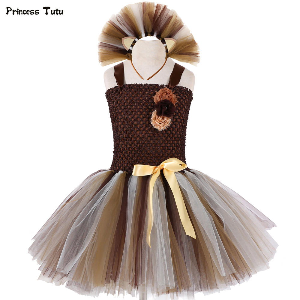 Wild Lion Girls Tutu Dress With Headband Animal Baby Girls Birthday Party Dress Up Halloween Children Cosplay Lion Costume 1-14Y brand infants costume series animal clothing set lion monster owl cow clasp elephant kangroo baby cosplay cute free shipping