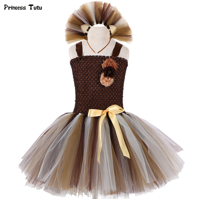 Wild Lion Girls Tutu Dress With Headband Animal Baby Girls Birthday Party Dress Up Halloween Children Cosplay Lion Costume 1-14Y