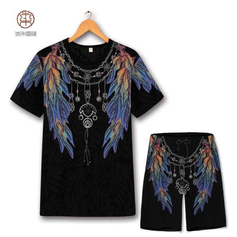 Creative plume ailes impression mode surdimensionné t-shirt et shorts costume été 2018 creux respirant qualité hommes ensembles courts