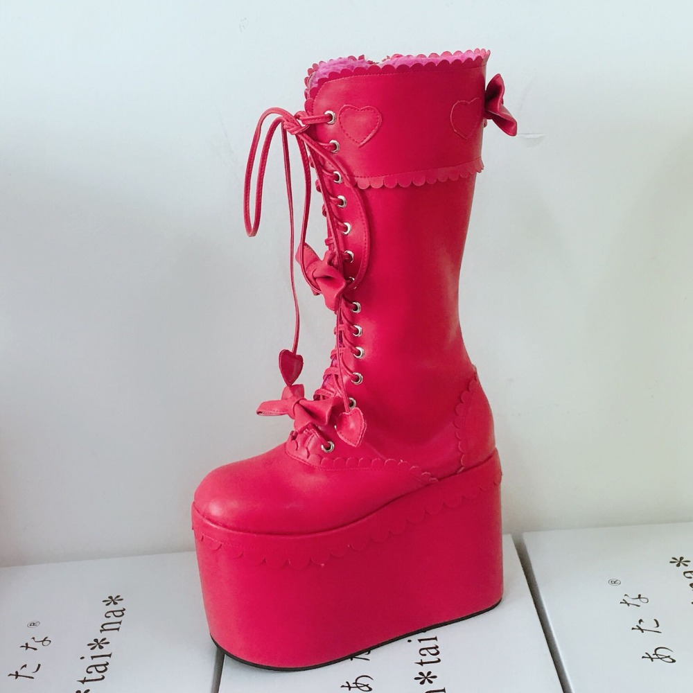Sexy-Women-Winter-Knee-High-13cm-High-Platform-Party-Lace-Up-Lolita-Boots-Side-Zip-Bowknot-PU-Leather-Lolita-Show-Boots-Warm-10