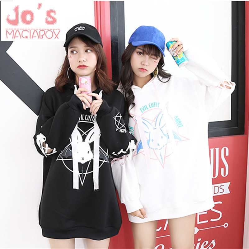 Harajuku Cute Lolita Women Tumblr Sweatshirt Rabbit Pentacle Print Lace Up Hoodies Løst TrackSuit Pullover Kvinne Sweatshirt