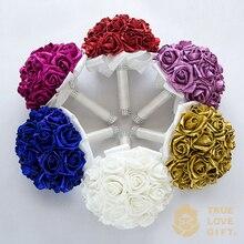 New Arrival 6 Colors Shining Foam Flowers Wedding Bouquets Artificial Flower Handmade Crystal Bridal Wedding Bouquet de mariage