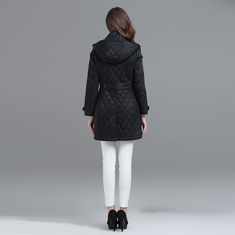 De D'hiver Mode Printemps Losange Qualité Haute Chaud Kaki Outwear rouge Veste Femmes 2018 Automne Manteau Vêtements Coton Parka Revers Longue qSRaa