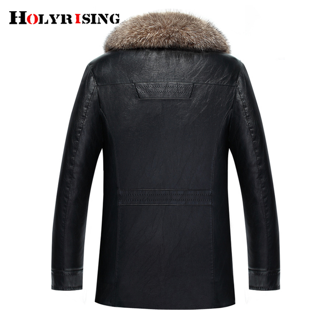 Holyrising Real Raccoon Fur Collar Men Faux Leather Jackets Winter Thicken Coat jaqueta de couro chaqueta Men PU Leather 18536-5