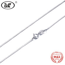ФОТО wk new 925 sterling silver snake chain necklace for women ladies girls 40 45 cm long chain necklaces jewelry wholesale ow na003