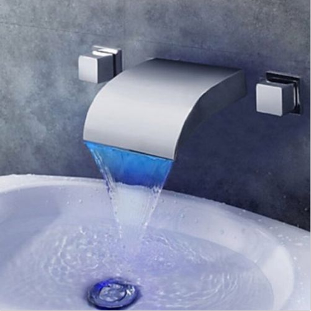 цена на Wall Mount Chrome LED Waterfall Bathroom Basin Faucet Dual Handle Mixer Tap NEW