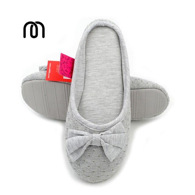 Millffy Knitted Cotton Slipper Ballet Flats Shoes Summer Home Slippers For Women Bedroom