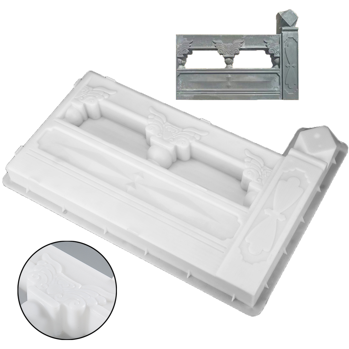 1Pc Concrete Molds Rectangle Garden Fence Mold DIY Flower Pool Plastic Brick Courtyard