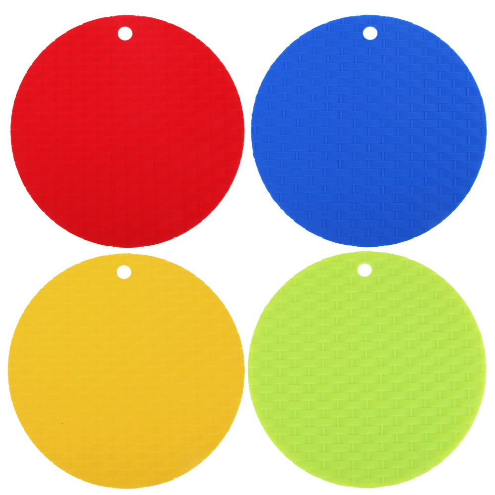 1pcs Colorful Round Nonslip Heat Resistant Mat Coaster Cushion Placemat  Pot Holder Table Silicone