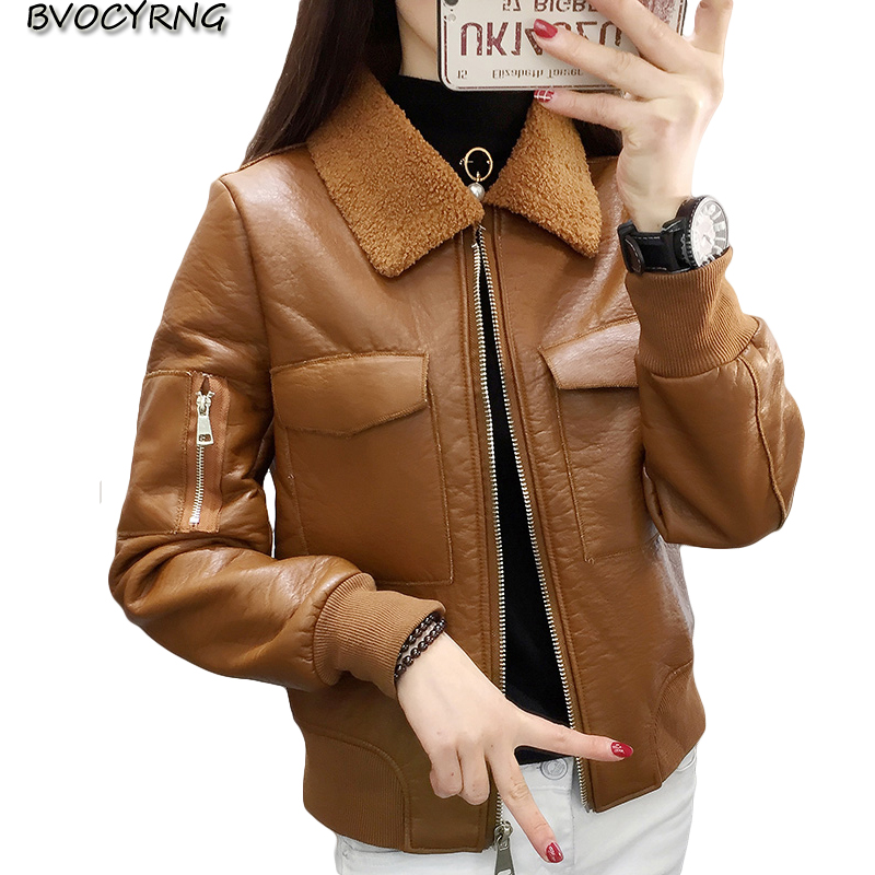 Vintage PU   Leather   Jacket Women 2018Faux   Leather   Jackets Big Yards Zipper Winter Lambs Wool Thick Jackets Woman   Leather   Coat 151