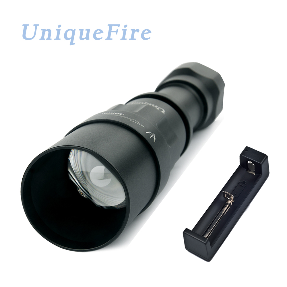 UniqueFire 1605 Zoomable 38mm lens IR 940nm Flashlight 3 Modes Night Vision torch USB Rechargeable For Hunting with Charger uniquefire t20 ir 940nm 3 modes night vision flashlight infrared light adjustable zoomable 38mm convex lens lamp torch lantern