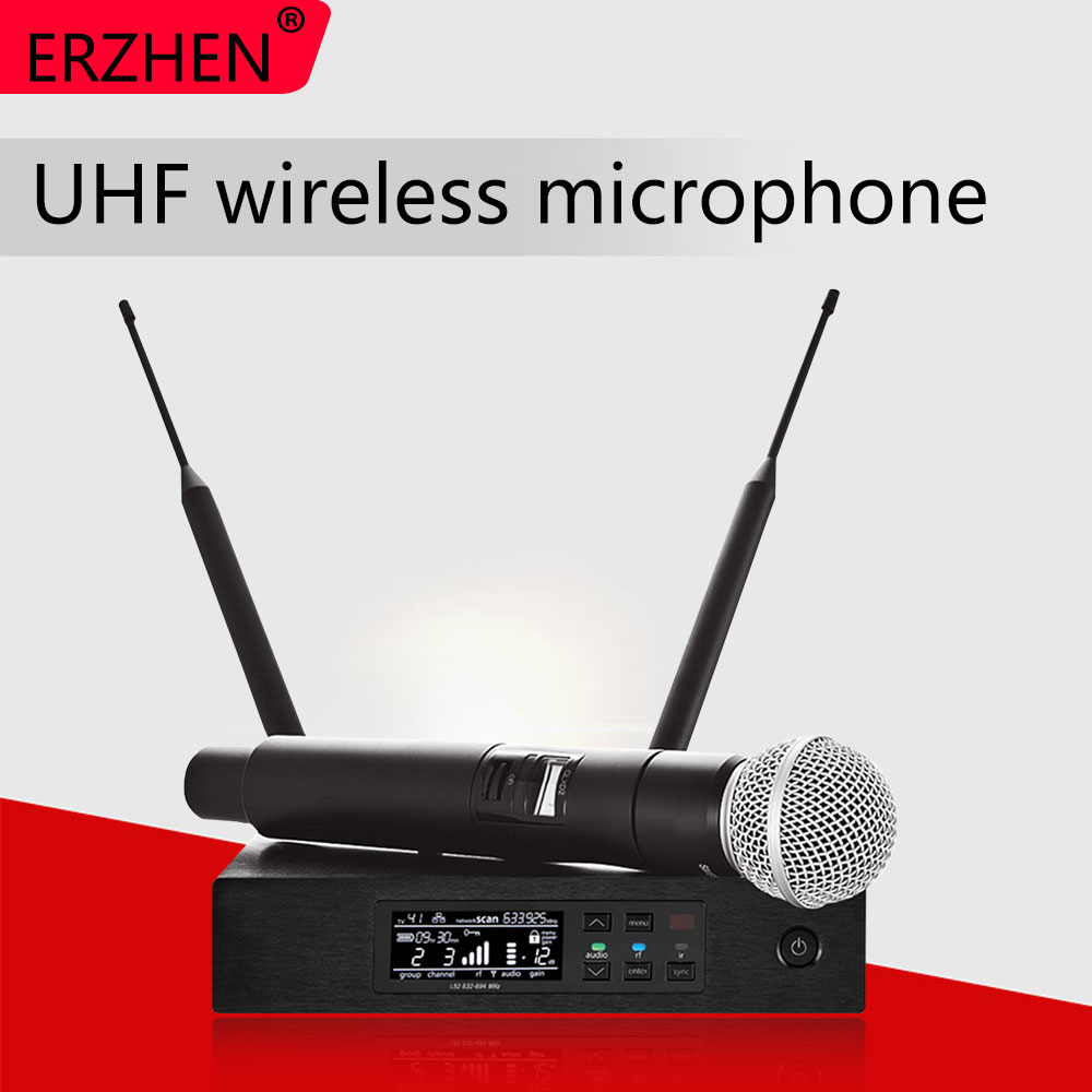 Wireless Microphones Long-Range True Diversity UHF Professional Microphone System QLXD4 MIC Stage Performance