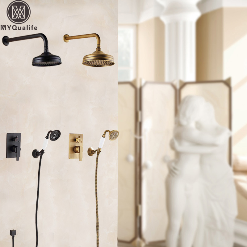 Brass Antique Bathroom Shower Mixer Wall Mounted Concealed Bath Shower Faucet Set 8