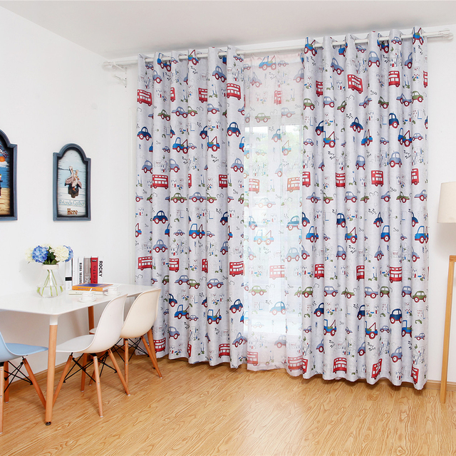Lovely Cartoon Car Printed Window Curtain Rod Pocket Panels For Kids Bedroom
