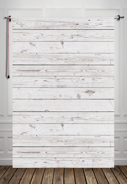 Huayi Weathered White Grey Painted Wood Floor Backdrop For